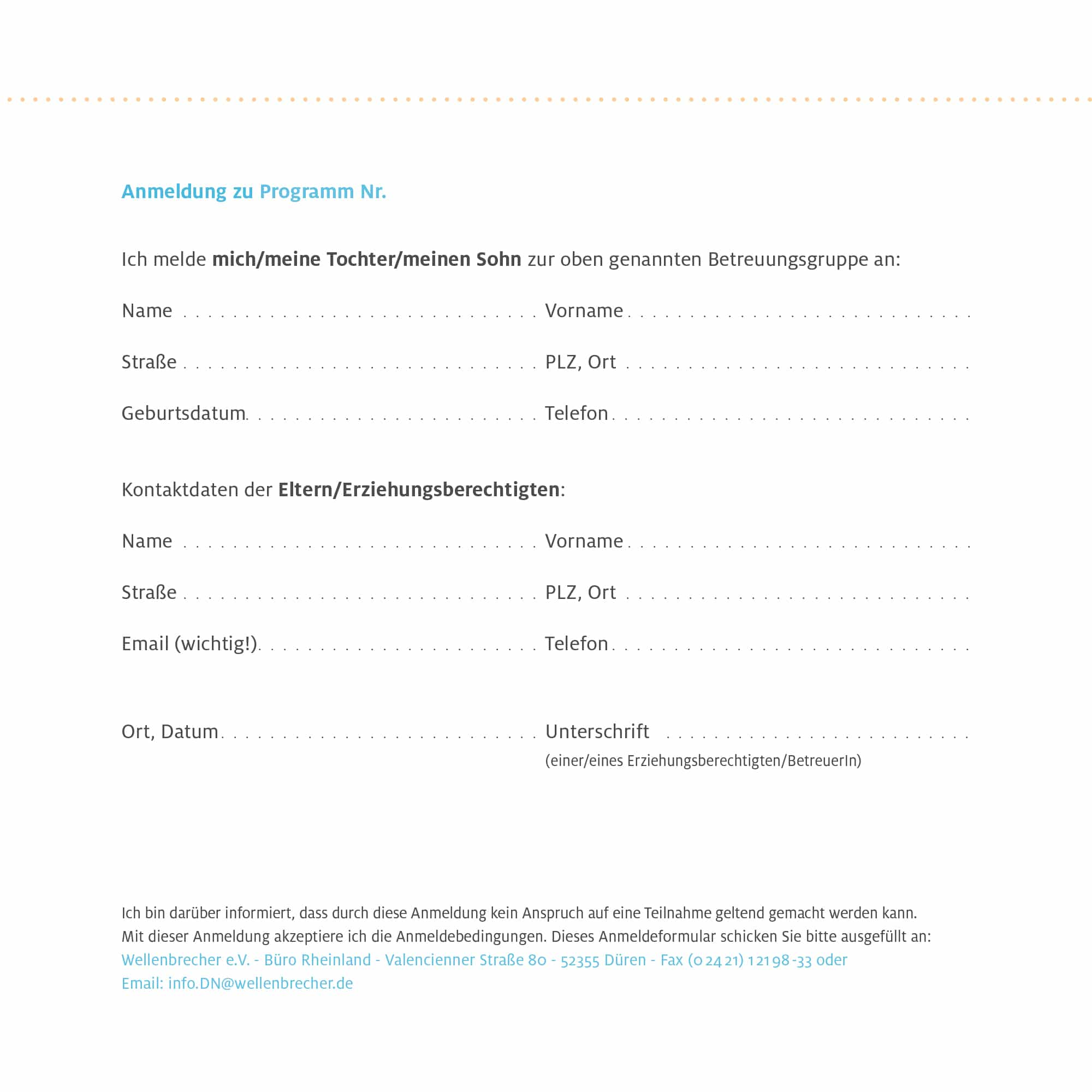 Download Anmeldeformular Betreuungsprogramm FUD