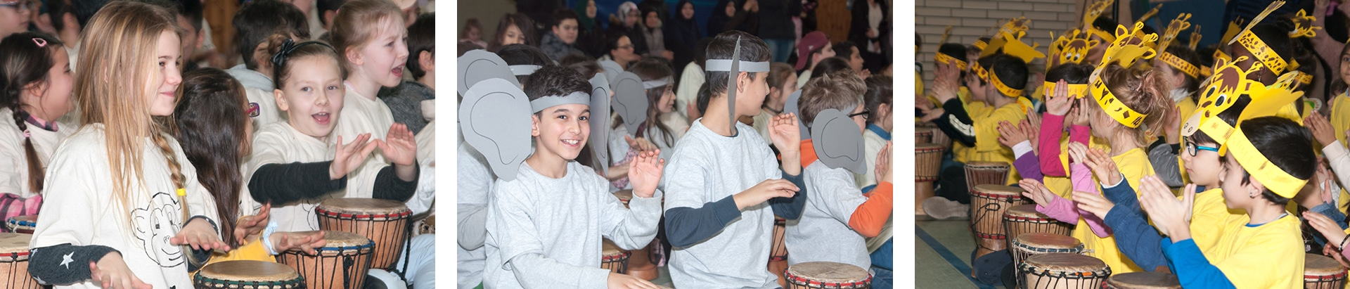 Foto der Grundschulkinder beim Trommelzauber-Projekt