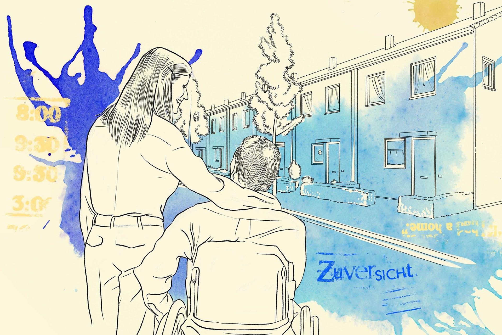 Illustration: Ein junges Paar auf der Suche nach betreutem Wohnen schauen sich sehnsüchtig eine Wohnung an.