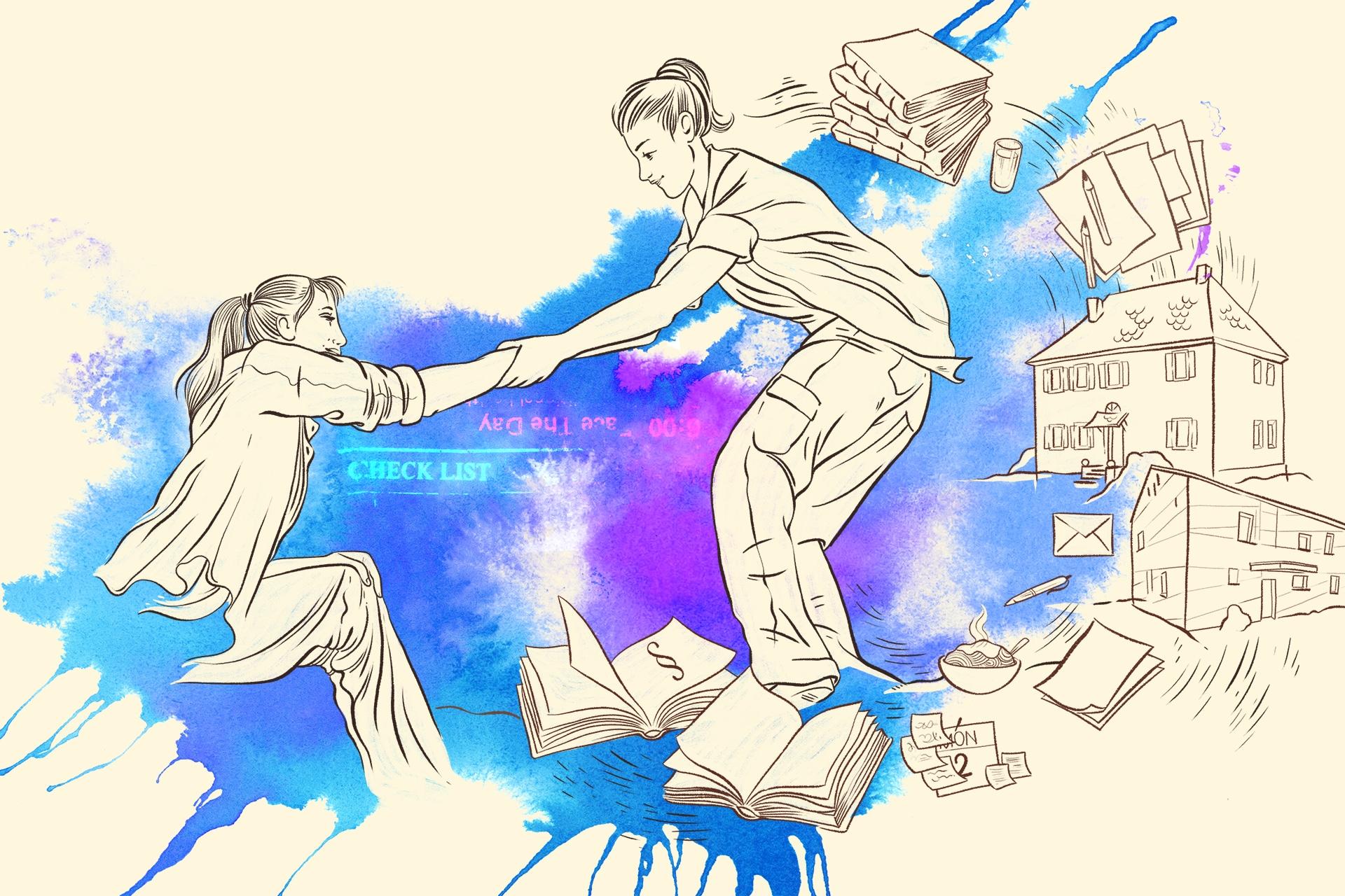 Illustration: Betreutes Wohnen für Menschen mit Handicap