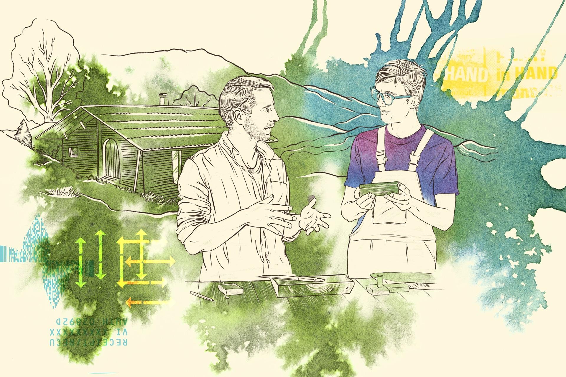 Illustration: Projektstelle auf Bauernhof