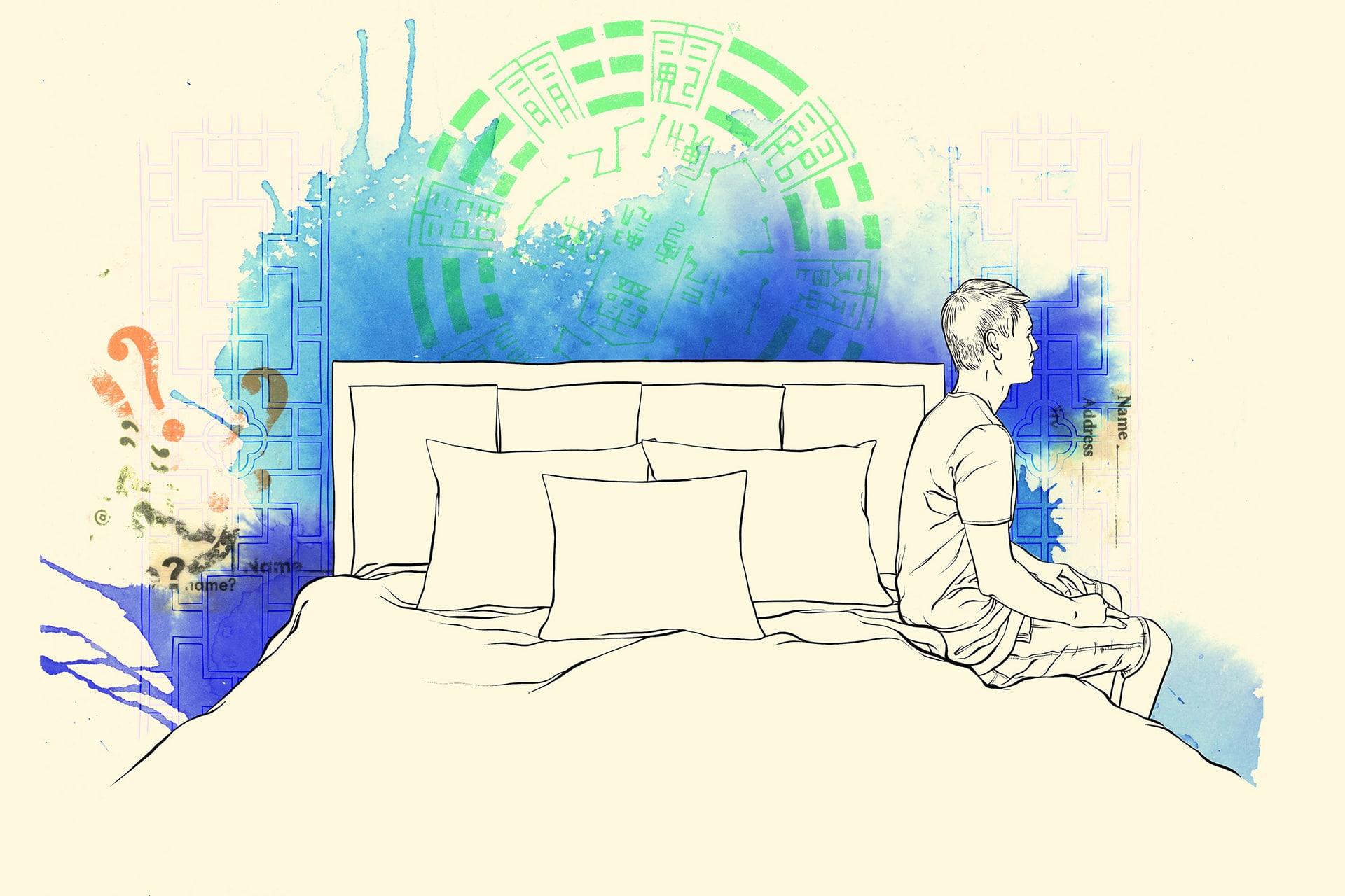 Illustration: Junge sitzt nachdenklich auf Bett