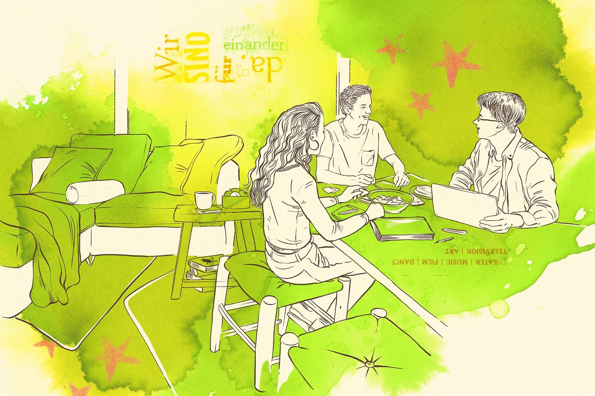 Illustration: Wohngruppe