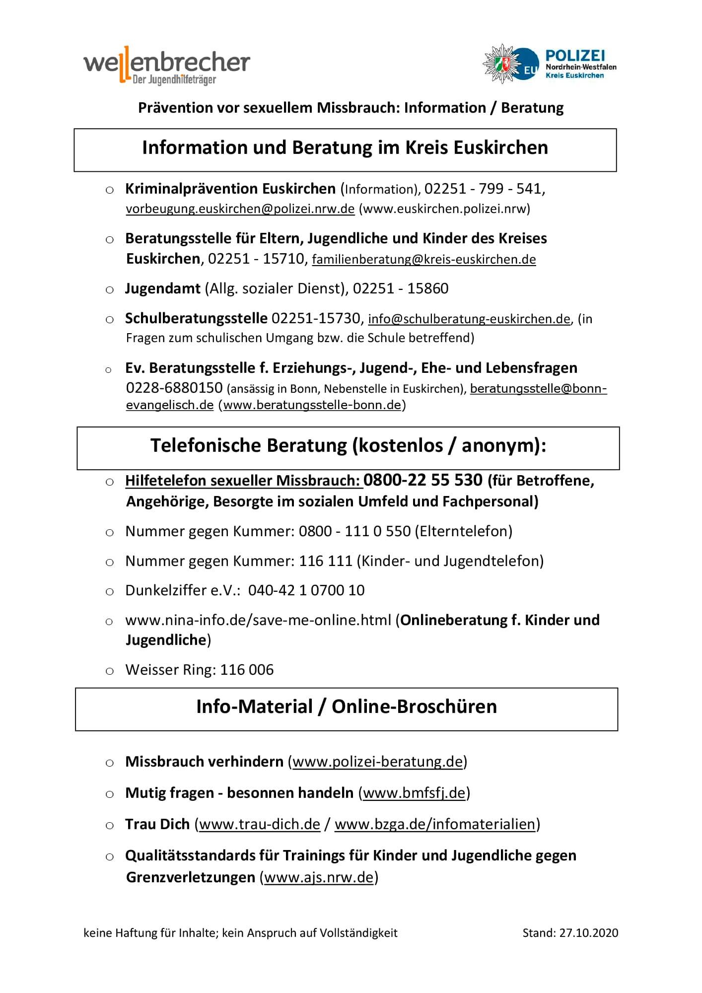 Linkliste Praevention sexualisierter Gewalt